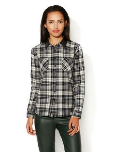 Flannel Shirt with Faux Leather Combo Collar by Renvy at Gilt