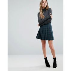 Oasis Check Pleated Mini Skirt found on Polyvore featuring polyvore, women's fashion, clothing, skirts, mini skirts, green, checkered mini skirt, checked skirt, mini skirt and pleated mini skirt