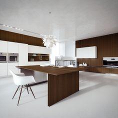 Corian® Glacier White and Heat-treated Oak Tranché doors. Stainless steel and  Heat-treated Oak Tranché tops. #ArritalCucine #Kculture #modern #kitchen #Ak04
