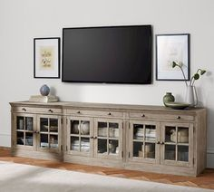 Farmhouse Living Room TV Stand - Livingston Large TV Stand With Glass Doors. Design Stand, Tv Stand Designs, Booth Design, Banner Design, Livingston, Tv Stand With Glass Doors, Large Tv Stands, Farmhouse Tv Stand, Vintage Farmhouse