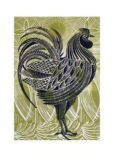 Green cockerel lino cut print by Amanda Colville, via Flickr