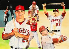 Mike Trout 2014 MVP -art by James Fiorentino (signed by Trout)