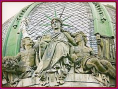 """🗽the Sitting Statue of Liberty🗽 ~ There is one Unique """" the Sitting Statue of Liberty """" in Ukrainian city of Lviv. It is a sculpture on a dome of the house (15, Freedom Avenue) built by architect Yuriy Zakharevych and decorated by Sculptor Leandro Marconi - while his cousin was Leonard Marconi, a Sculptor. _# 3 x 4"""