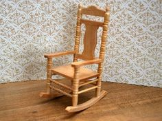Varnished Barewood Rocking Chair (BU9336V) - Nursery. Over 10,000 similar dolls house miniature products available from www.thedollshousestore.co.uk