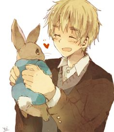 Arthur with Peter Rabbit - Art by ゆい@easternbunny (http://www.pixiv.net/member.php?id=283113)