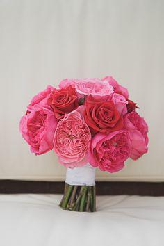 pink roses peony wedding bouquet