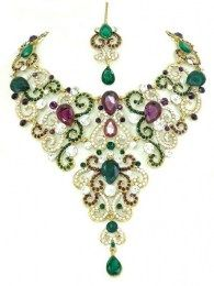 Exclusive All New Designed Necklace Set With Green Color Drop Down