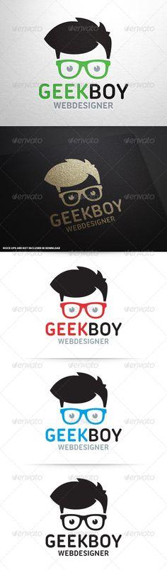 Geek Boy Logo Template PSD, Vector EPS, AI Illustrator. Download here: https://graphicriver.net/item/geek-boy-logo-v2/8604362?ref=ksioks