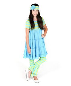Jelly The Pug Turquoise & Lime Zoe Dress Set - Girls Size:24M,3T,4,5 MSRP:$70