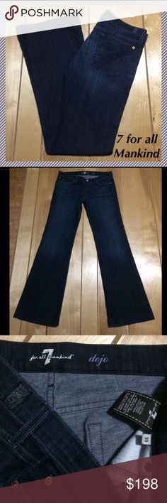 "7 for all Mankind Dojo jeans size 30 x 33.75"" 7 for all mankind Dojo wide leg flares • 33.75"" inseam, 8"" rise, 16.5"" across waist, 22"" leg opening • 98% cotton and 2% spandex • Like new, worn very few times!!! 7 For All Mankind Jeans Flare & Wide Leg"
