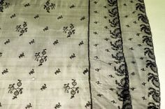 Shawl, 1795 - 1810, Black lace; needle run net; long, rectangular border of sprays; ground of floral sprays and sprigs arranged diagonally across fabric.