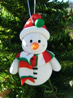 Handmade Sculpey Clay Snowman Ornament  Red White by BlueMoonDawn. , via Etsy.