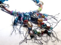 Carnivale Macrame Glass Bead Leather Necklace by EponasCrystals