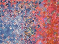 """close up, """"Ten Years and Done"""" by Marcia Kaylakie. Blooming nine patch quilt. Austin Area Quilt Guild 2014 show."""