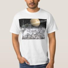 Shop Saturn and Enceladus T-Shirt created by artbymichele. Grey Shirt, T Shirt, Fitness Models, Unisex, Casual, Sleeves, Cotton, Mens Tops, How To Wear