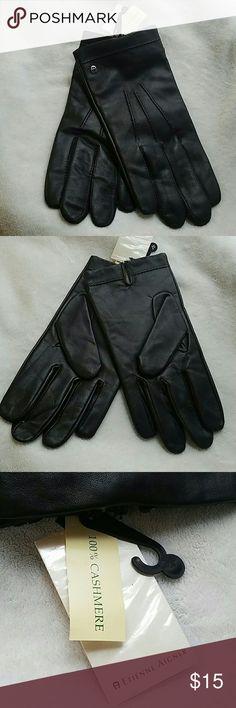 Black 100% Leather  Men's Gloves 100% Cashmere lining Etienne Aigner Accessories Gloves & Mittens