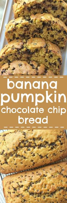 Banana pumpkin chocolate chip bread is a must-make! Sweet bananas, pumpkin, lots of chocolate, and it bakes up to perfection. This quick bread is a must-make for Fall. (make chocolate chip cookies) Köstliche Desserts, Delicious Desserts, Dessert Recipes, Yummy Food, Banana Recipes, Pumpkin Recipes, Fall Recipes, Bread Recipes, Weight Watcher Desserts