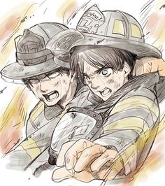 Levi and Eren as firefighters