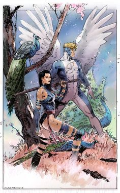 Psylocke and Angel - Clay Mann, Colors by Peter Nguyen