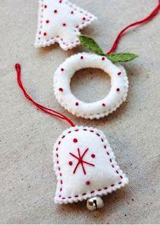 I deas para adornar el árbol de navidad: adornos en fieltro ( con patrones o moldes) Con pocos elementos, como algunos retazos d...