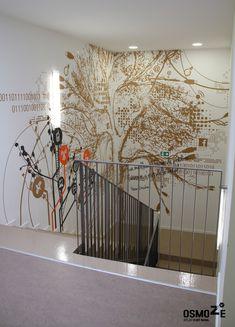 Id e de d coration cage d 39 escalier en b ton avec peinture for Tableau pour cage escalier