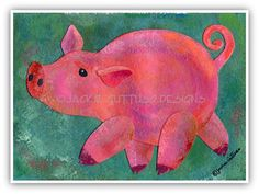 Pig art Original Farm nursery art Pig by JackieGuttusoDesigns, $30.00