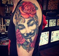 V Vendetta arm color rose tattoo