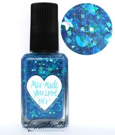 Lynnderella Limited Edition—Mer-Made You Love Her is made with blue jelly glitter, assorted cyans and teals in a cyan-shimmered base accented with cyan microglitter.