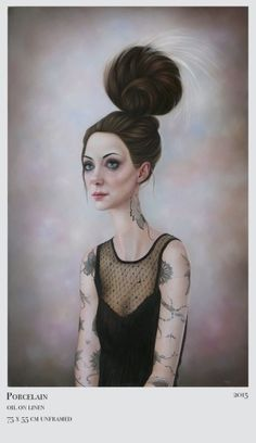 First featured in Hi-Fructose Vol. Dunedin, New Zealand based artist Sarah Dolby has always created character driven portraits. Her paintings combine aspects of traditional portraiture with her… Surrealism Painting, Pop Surrealism, Hi Fructose, Creature Of Habit, Tumblr, Interesting Faces, New Series, Magazine Art, Female Art