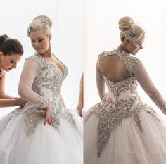 Wedding Dresses Ball Gown Bridal Gowns Sliver Lace Long Sleeve Plus Size