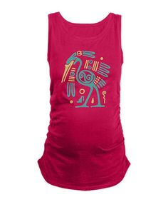 This Fuchsia & Aqua Tribal Crane Ruched Maternity Tank by CafePress is perfect! #zulilyfinds