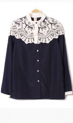 Retro long sleeved lace blouse