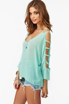 Dolman Cutout Top in Mint