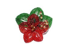 French Beaded Flower Brooch with Leaves and by BeadedGardenCanada Flower Brooch, Brooch Pin, Floral Pins, Bonsai Trees, Beaded Flowers, Red Green, Leaves, French, Purses