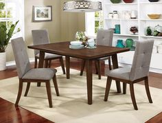 5 PC Furniture Of America Abelone Collection Dining Room Table Set CM3354T