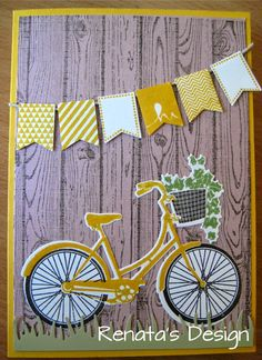 Renata' s Design: Stampin' Up Bicycle card SAB Banner Blast, Banner Punch http://crearenatakaarten.blogspot.nl/2014/07/stampin-up-meets-papertreyink.html