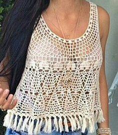 Best 12 Sent from my BlackBerry Shirt_tank top (make longer) – SkillOfKing. Crochet Top Outfit, Crochet Blouse, Crochet Clothes, Crochet Ruffle, Crochet Crop Top, Top Pattern, Free Pattern, Poncho Tops, Ruffle Top