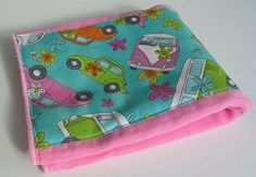 VW Beetles and Campers on Hot Pink Hand Dyed Burp Cloth