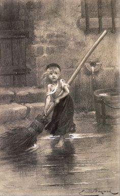 "The iconic illustration of Cosette by Émile Bayard, from the original edition of Hugo's ""Les Misérables"" (1862)"