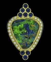 Crevoshay Boulder Opal, Sapphire & Diamond Pendant - Product Image