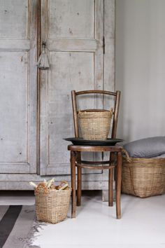 antique cabinet and baskets (Photo by Anna-Malin, from blackballoon.se)