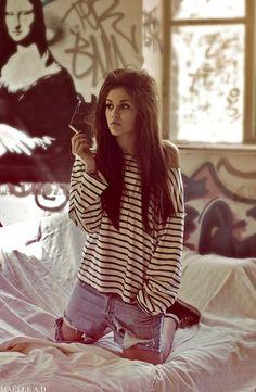 cigarette, fashion, girl, grundge, stripes - inspiring picture on Favim.com