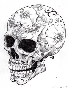 Print real sugar skull precision hd hard coloring pages