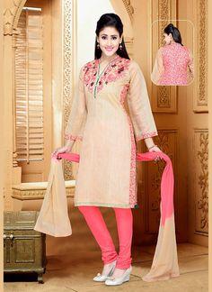 Beige Pink Art Silk Designer Salwar Kameez #Salwars #SalwarKameez #SalwarSuits #DesignerSalwarSuits #OnlineSalwarShopping