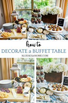 How to Decorate a Buffet Table for a Casual Fall Party ~ Bluesky at Home