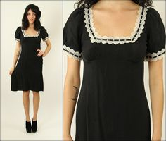 Vintage 90's Betsey Johnson Floral- silk- french maid- boho- grunge- dolly- mod- black and white mini dress