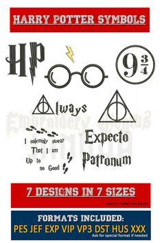 Harry Potter symbolen borduurwerk 7 ontwerpt (7 maten) superheld Disney HP Logo altijd Deathly Hollows glazen Expecto Patronum Marauders kaart