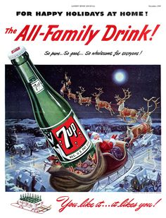Vintage 7up Christmas ad | Dec. 1949 | #Christmas #holidays #gifts #vintage #ad