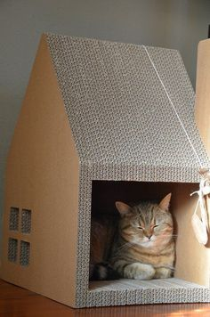 5 Unusual Housewarming Gift Ideas | Cat House- made of cardboard- you can add a dangle toy, catnip or treats and so on, and place house in an area where sunlight can spill in :) kitty loves it #Cattoys