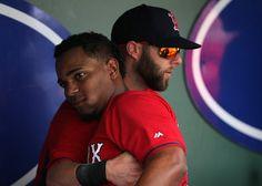 Xander Bogaerts & Dustin Pedroia Baseball Players, Baseball Cards, Dustin Pedroia, Red Sox Nation, Mlb Teams, Love Me Forever, My Socks, Boston Red Sox, Stockings